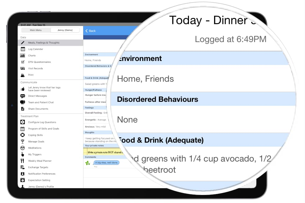 Patient Meal Log on iPad